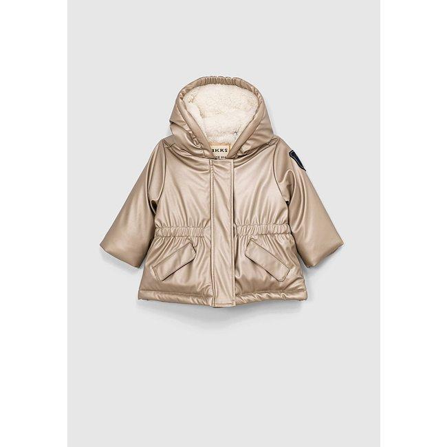 IKKS Baby girls' gold rubber nylon fur-lined hooded trench