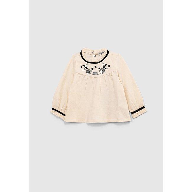 IKKS Baby girls' ecru T-shirt with pretty black embroidery