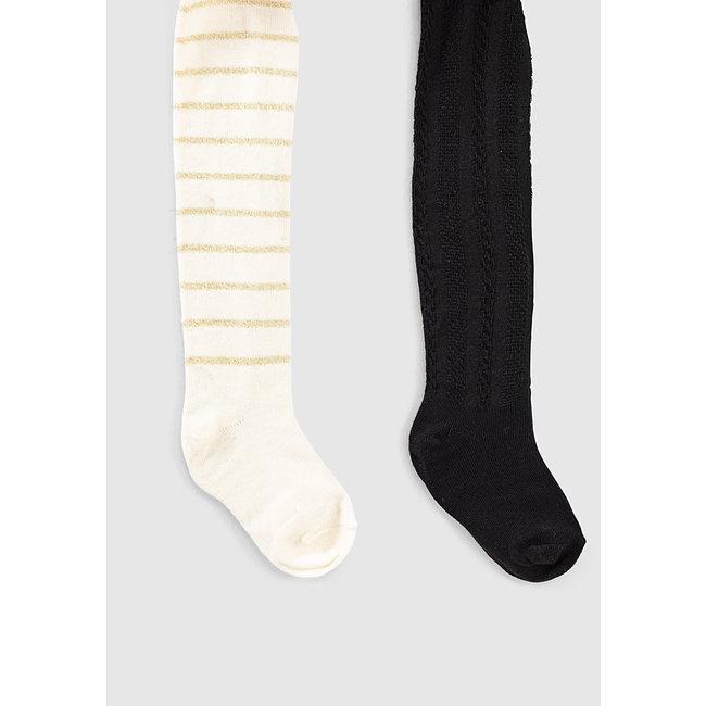IKKS Baby girls' black and off-white lurex striped tights
