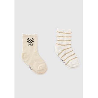IKKS Baby girls' off-white lurex striped and ecru socks