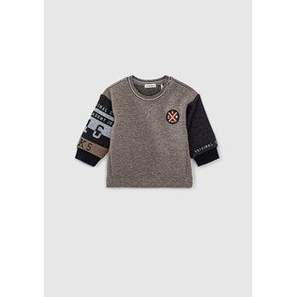 IKKS Baby boy's dark grey sweatshirt with navy sleeves