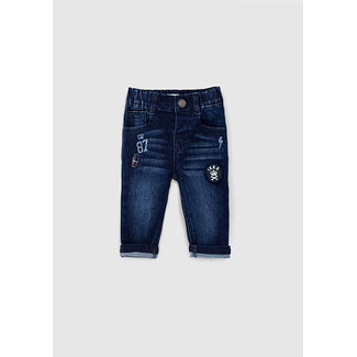 IKKS Baby boys' vintage blue patch and print jeans