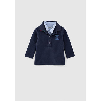 IKKS Baby boys' navy polo shirt with striped shirt collar