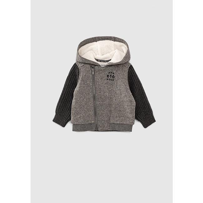 IKKS Baby boys' charcoal grey marl biker-style cardigan