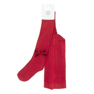 PATACHOU Basic Hosiery Red Tights Velour Bow