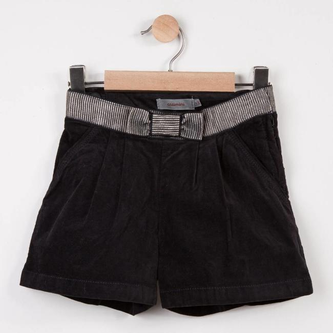 CHARCOAL GREY VELVET SHORTS WITH TIE BELT