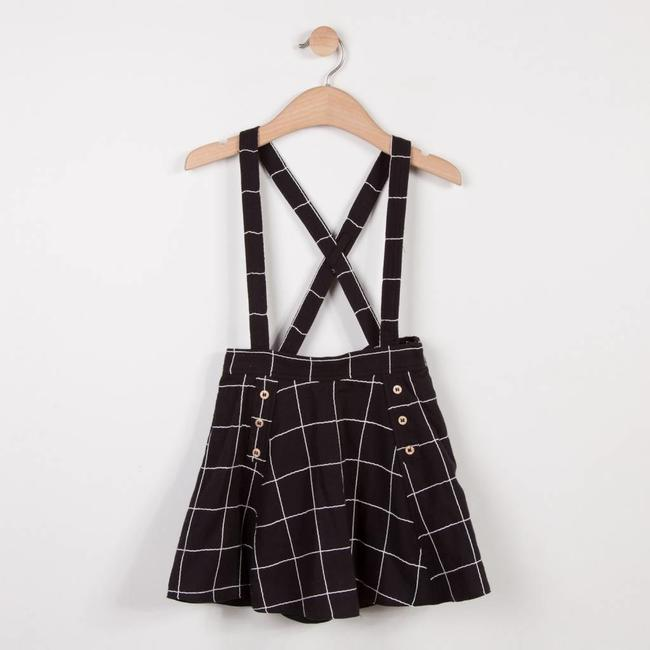 CHECKED WOOL PIQUE EFFECT TWILL SKIRT