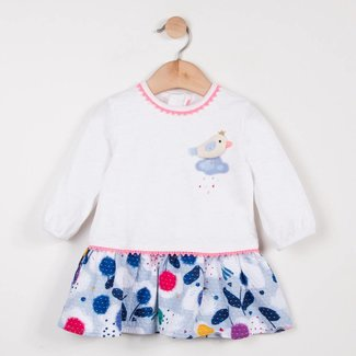 DRESS IN TWO MATERIALS, JERSEY AND MICRO-WEAVE FABRIC WITH A CHARMING PRINT