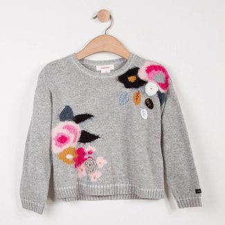 MARL SWEATER WITH MULTICOLOURED FLORAL PATTERN