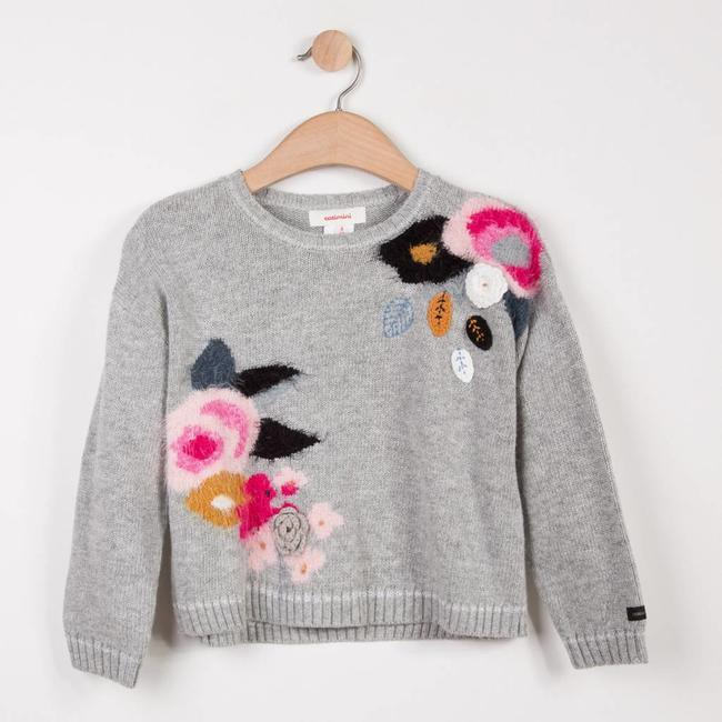 CATIMINI MARL SWEATER WITH MULTICOLOURED FLORAL PATTERN