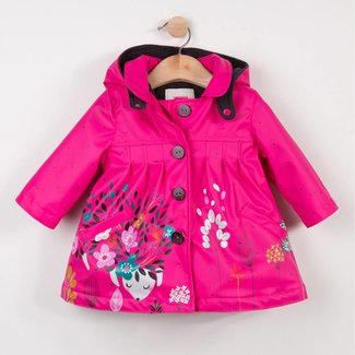 CATIMINI PINK RUBBER COATED RAINCOAT WITH FLORAL PATTERN