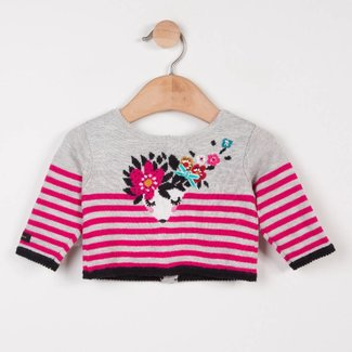 REVERSIBLE MARL CARDIGAN WITH CHARMING DESIGN