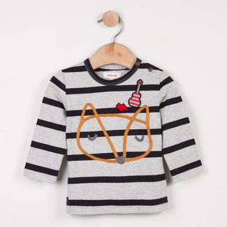 STRIPED TUBULAR KNIT T-SHIRT WITH ANIMAL PATTERN