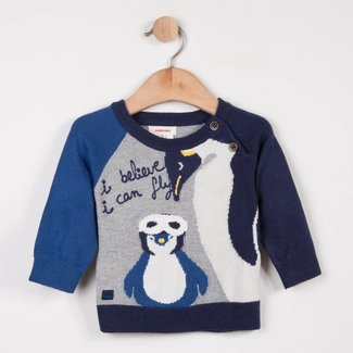 WOOLLY SWEATER WITH PENGUIN JACQUARD PATTERN