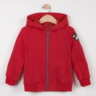 ZIPPED RED FLEECE SWEATER IN TWO MATERIALS