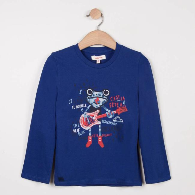ROYAL BLUE T-SHIRT WITH PLAYFUL ANIMAL PATTERN