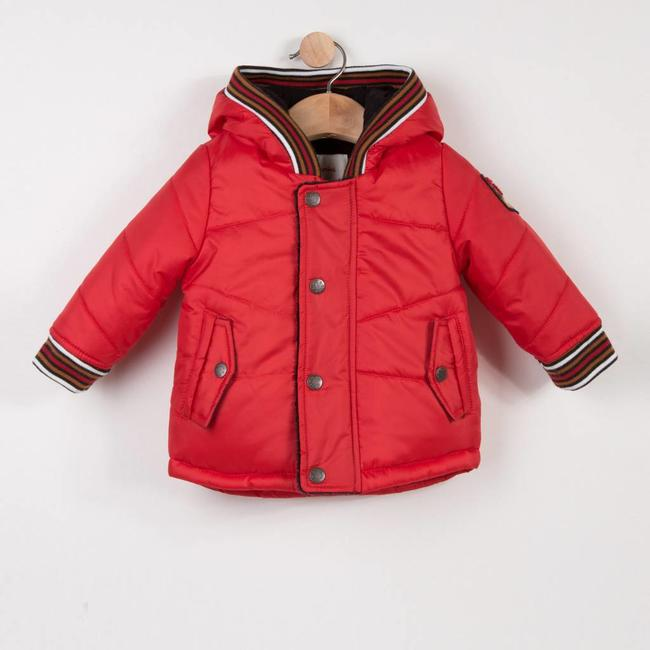 RED COATED HOODED PARKA