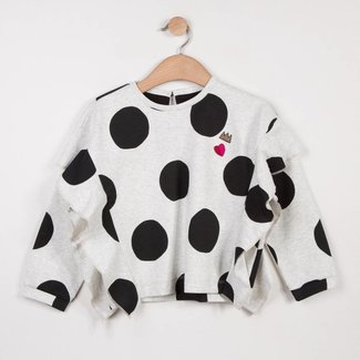SWEAT IN MARL MILANO JERSEY WITH MAXI POLKA DOT PATTERN