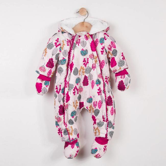 FLEECE-LINED SNOWSUIT WITH FLORAL PATTERN