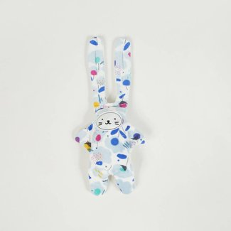 CUDDLY TOY RABBIT IN VELVET WITH CHARMING PATTERN