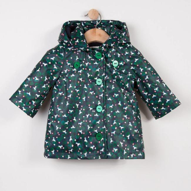 DARK BLUE RUBBER COATED RAINCOAT WITH UNICORN PATTERN