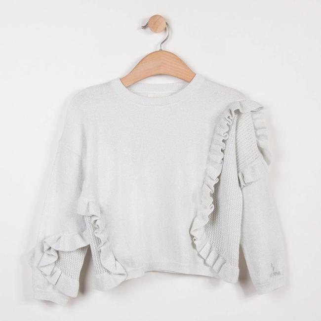 FINE SHINY SILVER PULLOVER WITH FRILLS