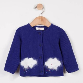 FINE-GAUGE CARDIGAN WITH CLOUD PATTERNS