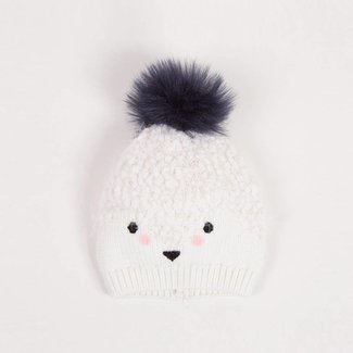 FLUFFY KNITTED HAT WITH POMPOM