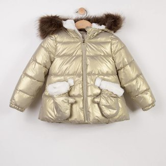 GOLDEN PUFFA JACKET WITH FUR HOOD
