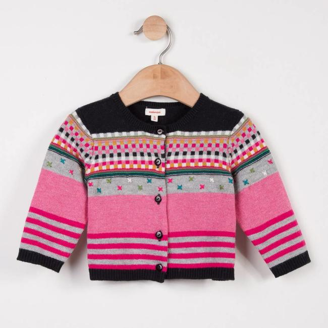 JACQUARD KNIT CARDIGAN WITH MULTICOLOURED EMBROIDERIES