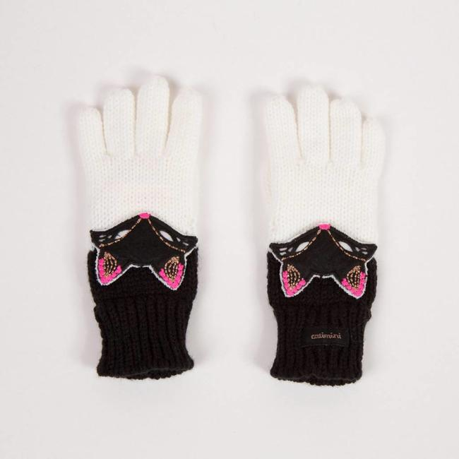 JACQUARD KNIT WHITE GLOVES
