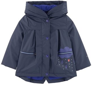 MIDNIGHT BLUE RUBBERISED COAT WITH COLOURED PATTERNS