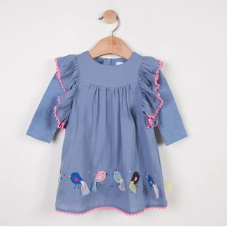 CREPE DRESS WITH RUFFLES AND BIRD PATCHES