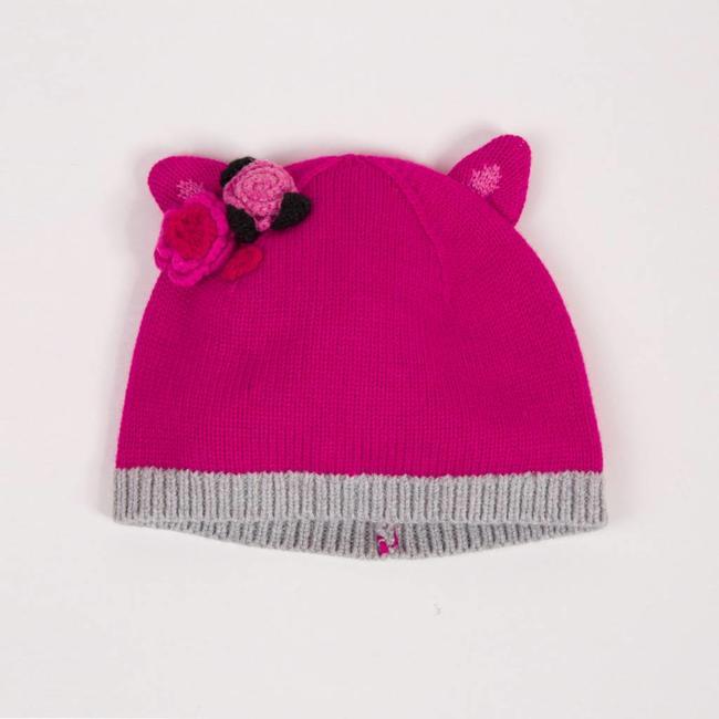PINK FLORAL KNIT HAT