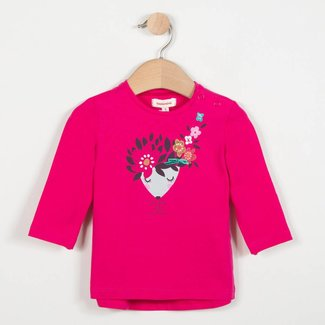 PINK STRETCH T-SHIRT WITH FLORAL PATTERN