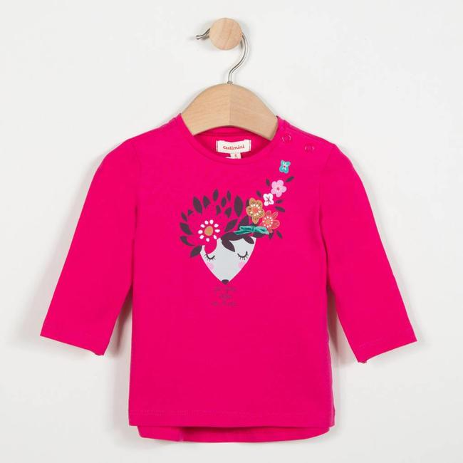 CATIMINI PINK STRETCH T-SHIRT WITH FLORAL PATTERN