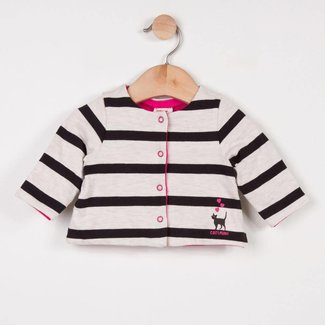 PINK STRIPED REVERSIBLE DOUBLE JERSEY CARDIGAN