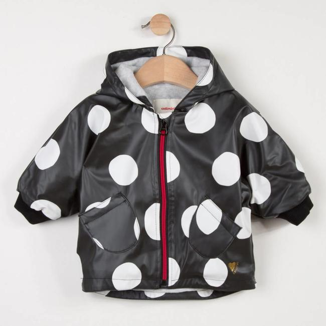 PRINTED RUBBERISED CAPE COAT WITH MAXI POLKA DOTS