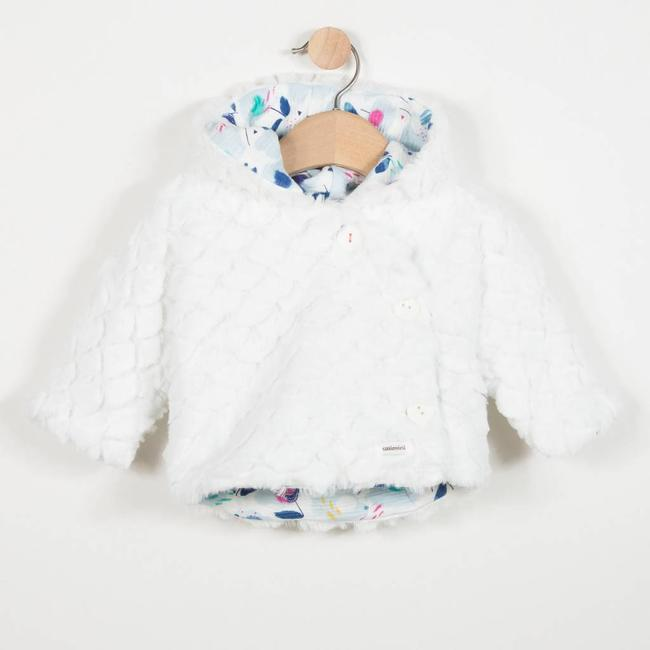 REVERSIBLE JACKET WITH CHARMING PRINT AND FANCY FUR
