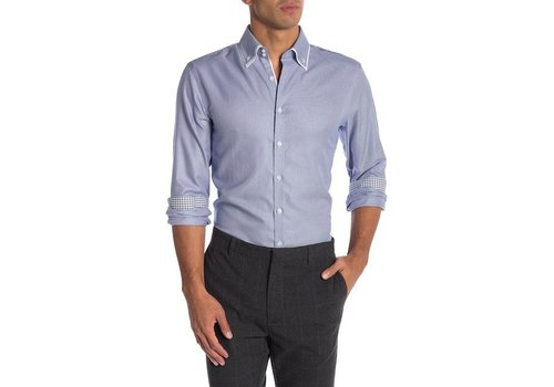 Lindbergh Double Collar Stretch Structure Shirt L/S