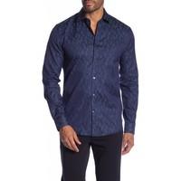 Jacquard pattern cotton L/S dress shirt