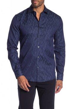 Junk de Luxe Jacquard Pattern Cotton Dress Shirt L/S