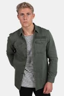 Junk de Luxe Washed Military Shirt W. Print Army L/S