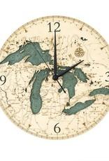Michael Enterprises Inc. GREAT LAKES WOODEN CHART MAP CLOCK