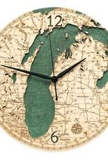 Michael Enterprises Inc. LAKE MICHIGAN WOODEN CHART MAP CLOCK