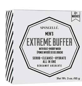 SPONGELLE MEN'S MINI EXTREME BUFFER BERGAMOT ABSOLUTE WHITE 2.5 OZ