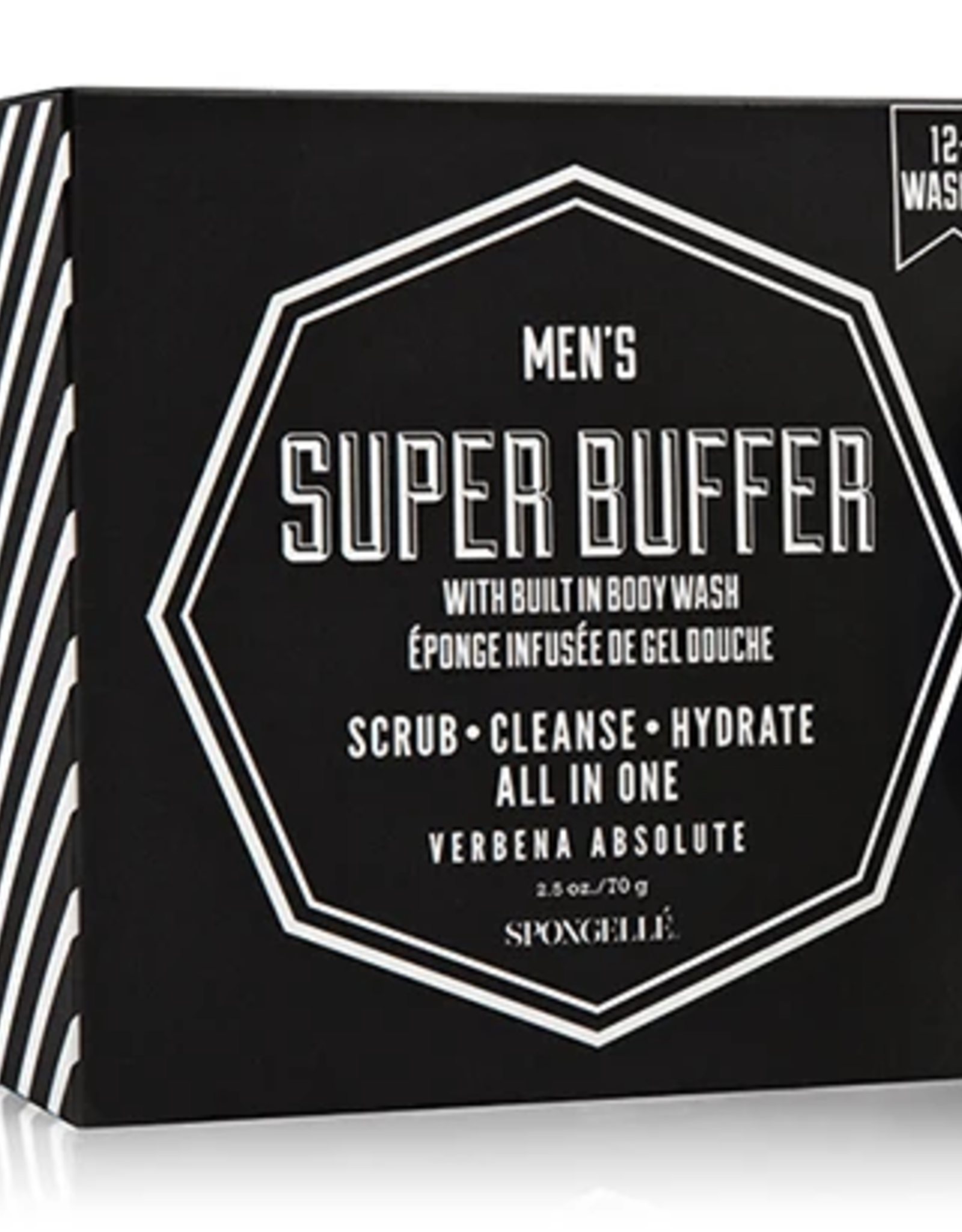 SPONGELLE MEN'S MINI SUPER BUFFER VERBENA ABSOLUTE BLACK 2.5 OZ