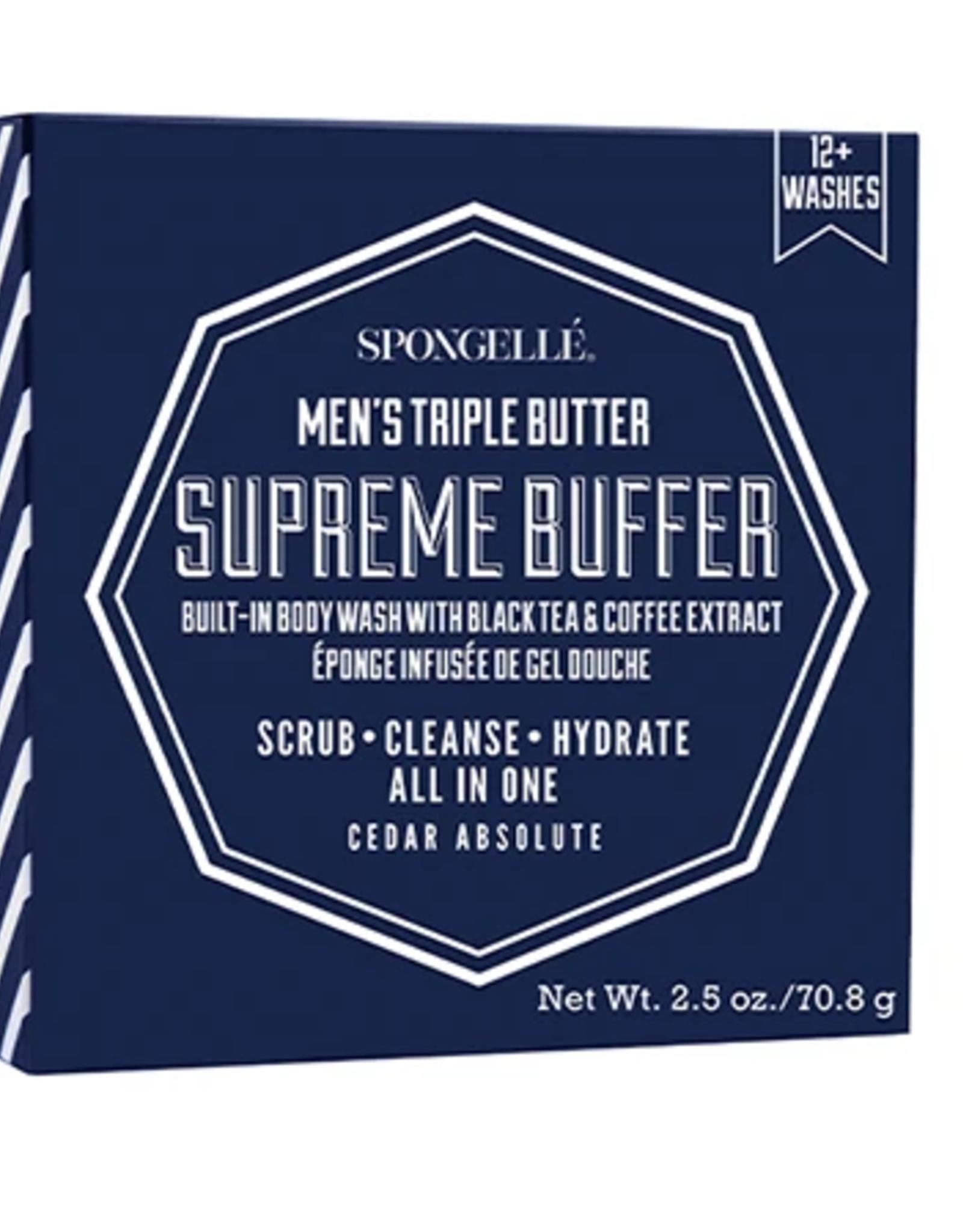 SPONGELLE MEN'S MINI SUPREME BUFFER CEDAR ABSOLUTE BLUE 2.5 OZ