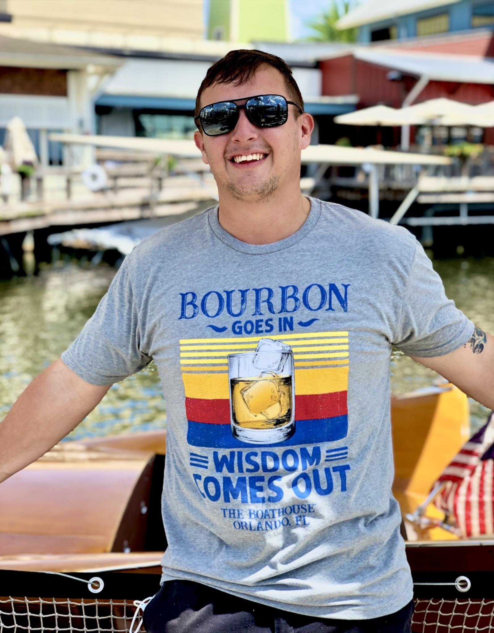 BOURBON GOES IN WISDOM COMES OUT TEE