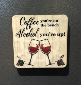BUCKET WONDERS COFFEE ON BENCH COASTER MAGNET